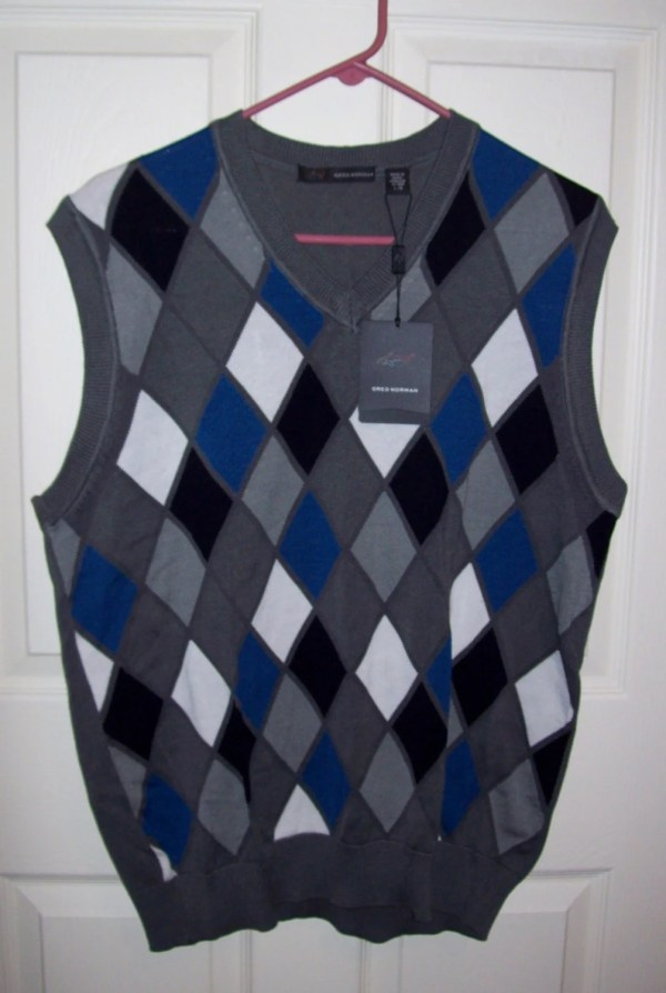Vintage Men' Gray Argyle Sweater Vest Greg Norman
