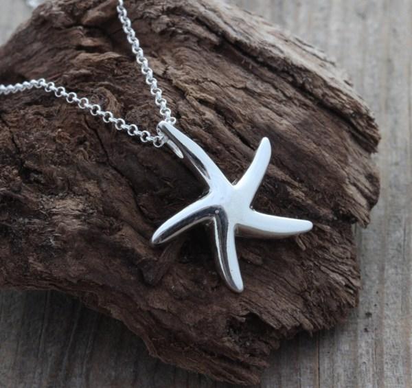 Sterling Silver Starfish Pendant Big