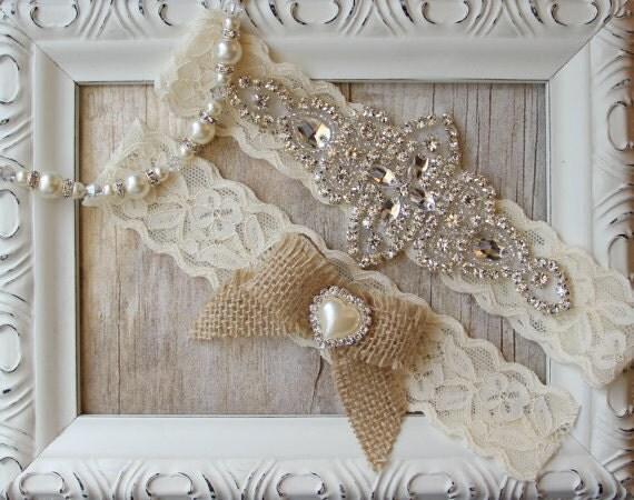 Country Wedding Rustic Garter Set Burlap Wedding Garter
