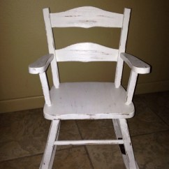 Antique Child Rocking Chair Fishing Game White Musical Toddler Shabby