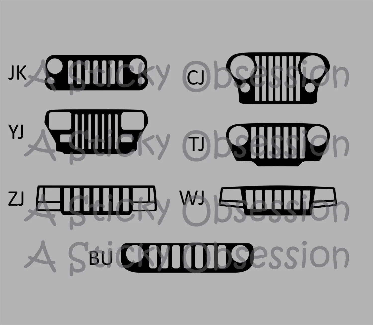 Jeep Wrangler Cherokee Renegade Grill Decals By