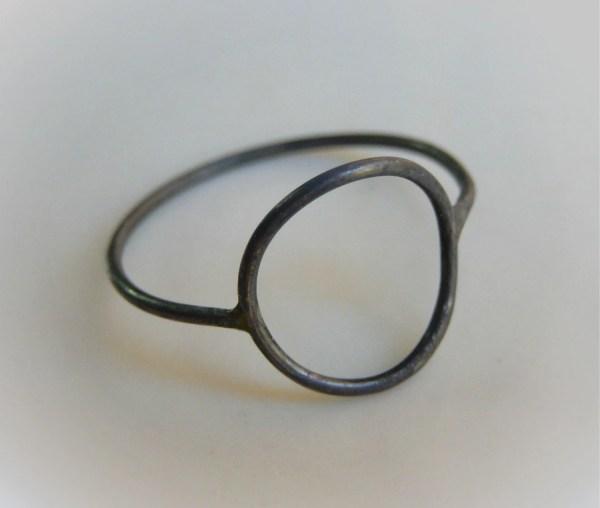Oxidized Circle Ring Karma Silver Stacking
