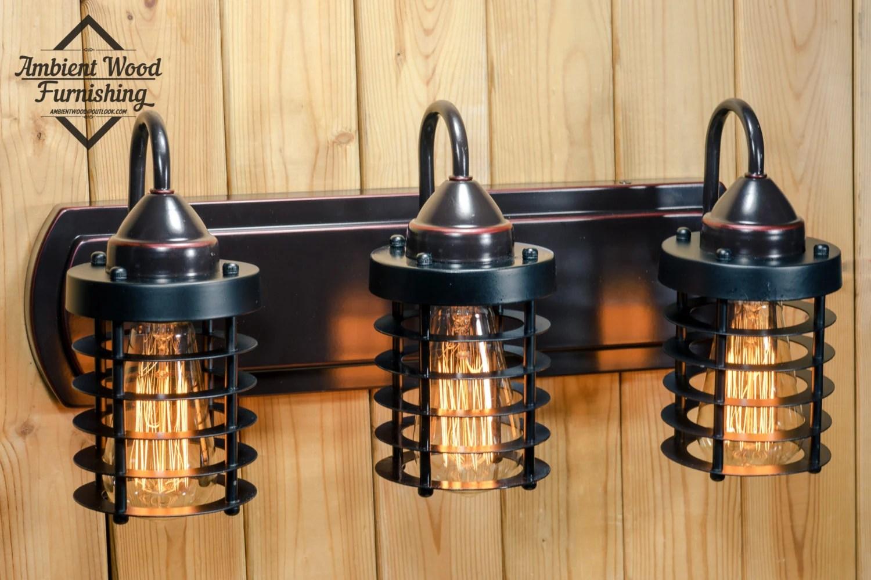 Industrial Bathroom Vanity Cage Light Fixture Bar Light