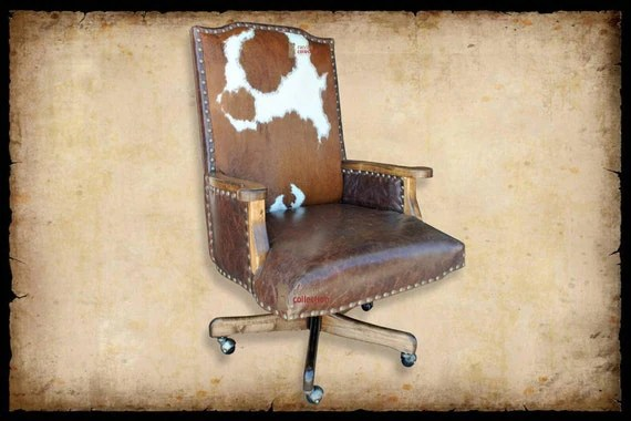 white leather swivel desk chair custom embroidered directors chairs creek western office with cowhide by ranchocollection