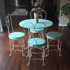 Ice Cream Table And Chairs Staples Chair Back Support Free Ship Antique Teal White Parlor