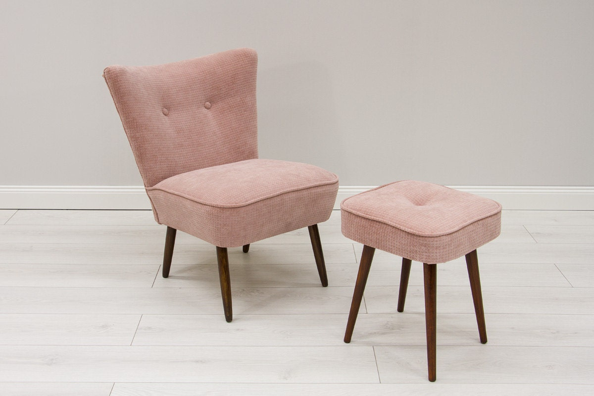 pale pink chair seat covers at walmart reupholstered cocktail armchair 43 pouf vintage