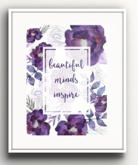 Purple Floral Quote Wall Art Floral Quote Print Purple