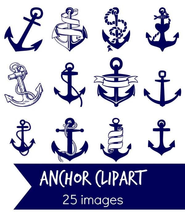 navy blue anchor clip art