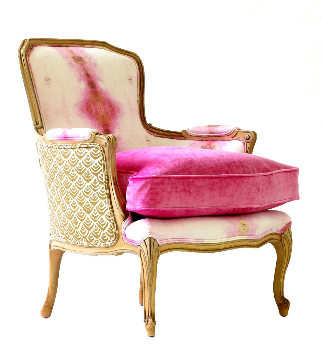 Pink Upholstered Chair French Bergere Upholstered Pink Opal Chair