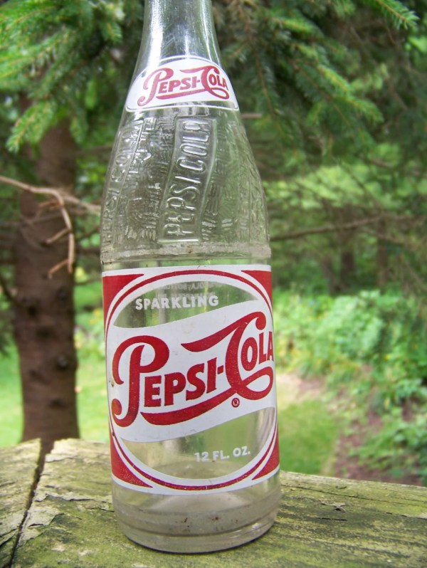 Vintage Pepsi Cola Glass Bottle Red And White Single Dot