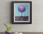 Purple Lollipop Tree Signed Art Print of Signature Original By Rafi Perez
