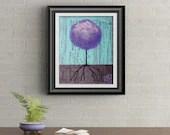 Purple Lollipop Tree Signed Art Print of Signature Original By Rafi Perez