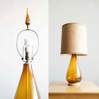Vintage Amber Glass Teardrop Table Lamp