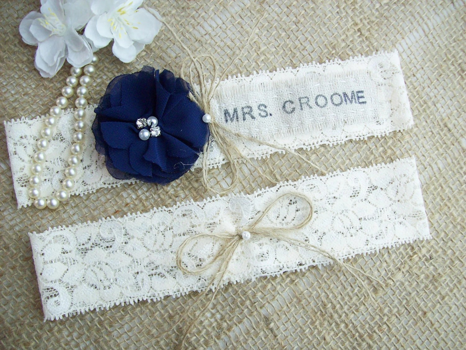 Personalized Rustic Country Chic Wedding Garter SetPick Your