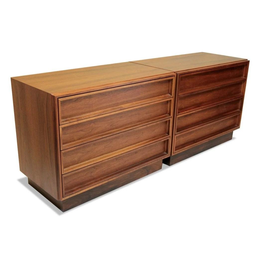 Pair Of Walnut Dressers Designed By John Keal For Brown Saltman Vintage Mid Century Modern