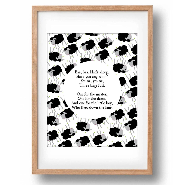 Baa Baa Black Sheep Nursery Rhyme Printable Wall Decor