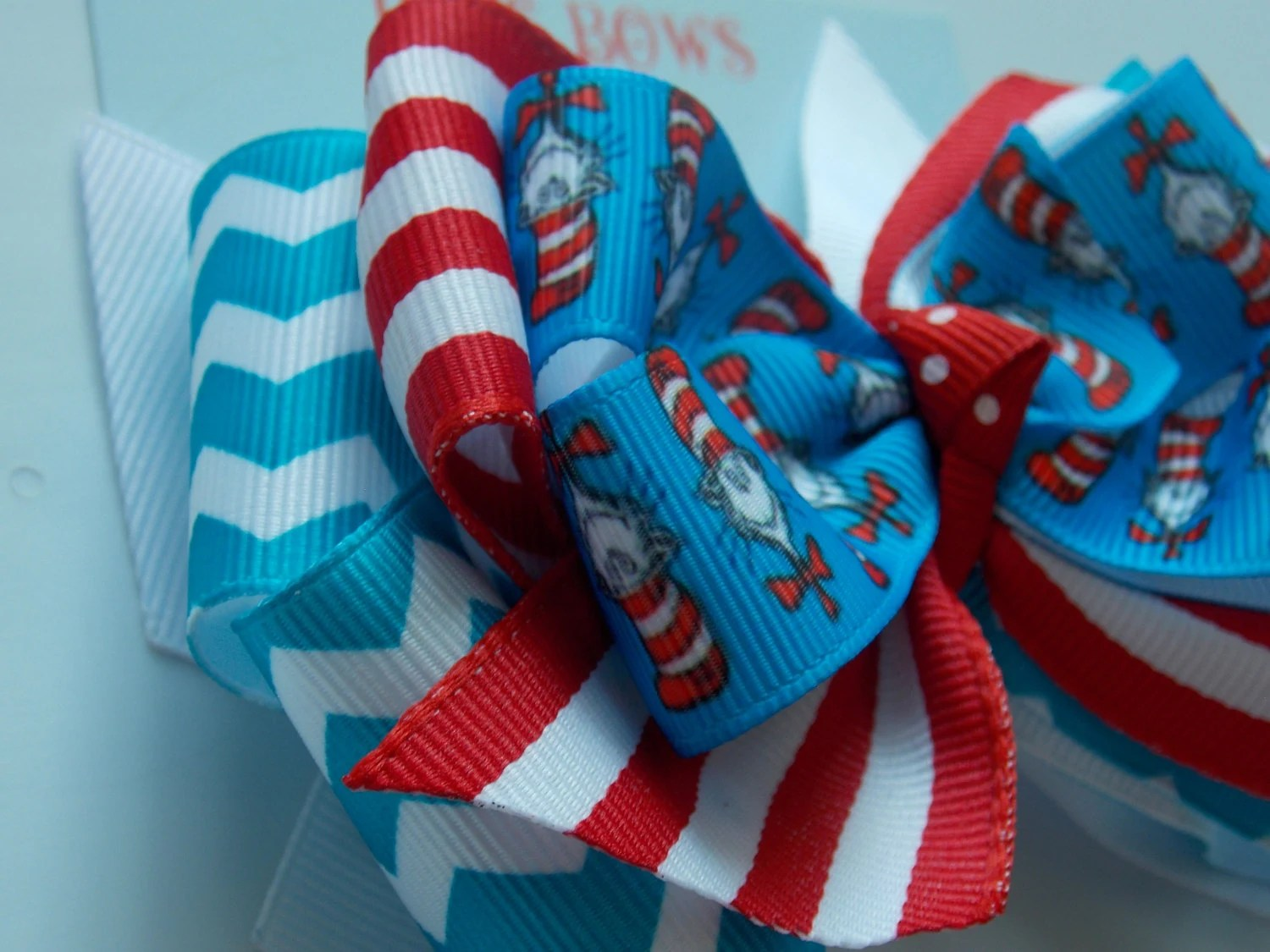 The Cat In The Hat Hair Bow Baby Hair Clip Thing 1 And