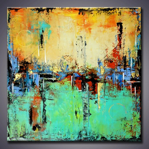 Turquoise Yellow Abstract Painting