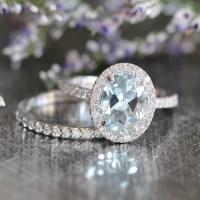 Halo Wedding Ring Set Aquamarine Engagement Ring and Half
