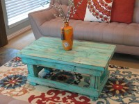Rustic Distressed Coffee Table with Aqua by ...