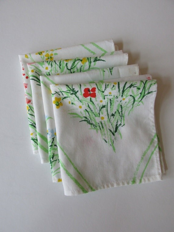 Vintage Napkins White with red yellow and blue flowers
