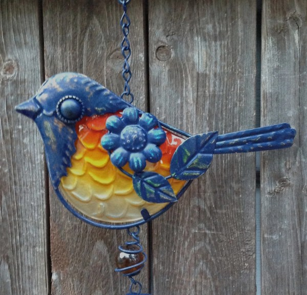 Navy Blue Metal Bird Wind Chime Withcolorful Body Backyard