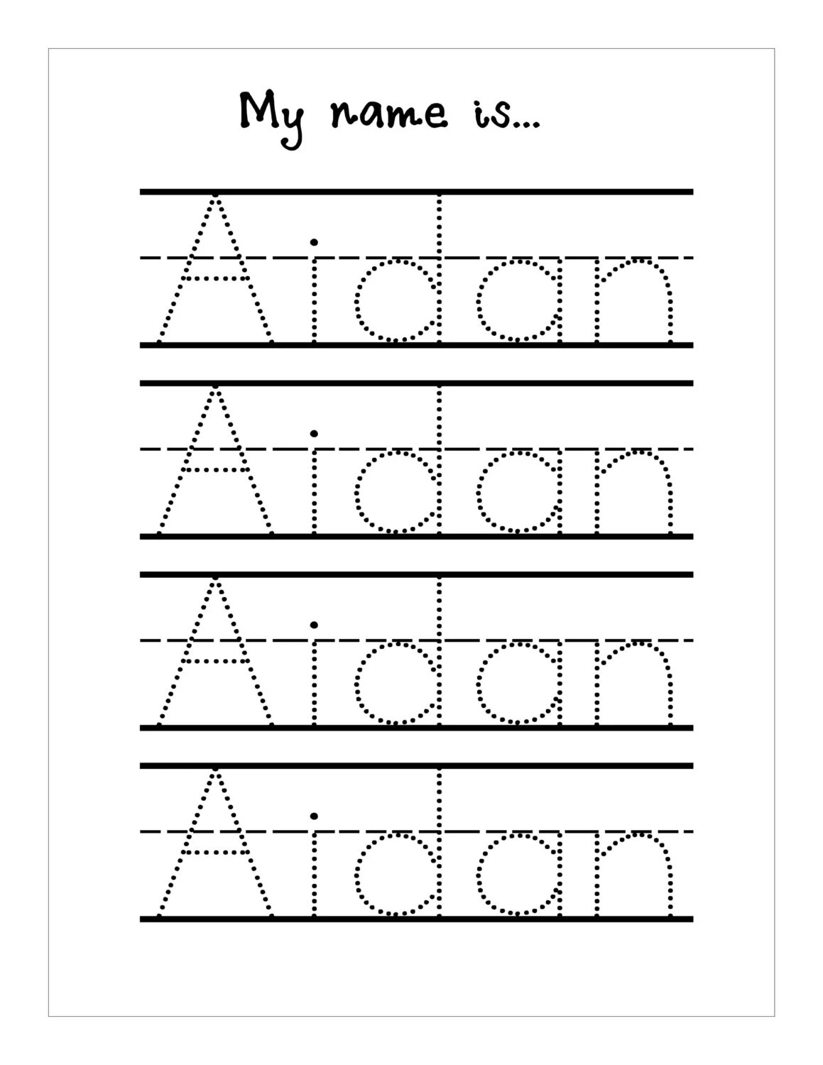 Name Trace Worksheet Digital File Printable For Pre