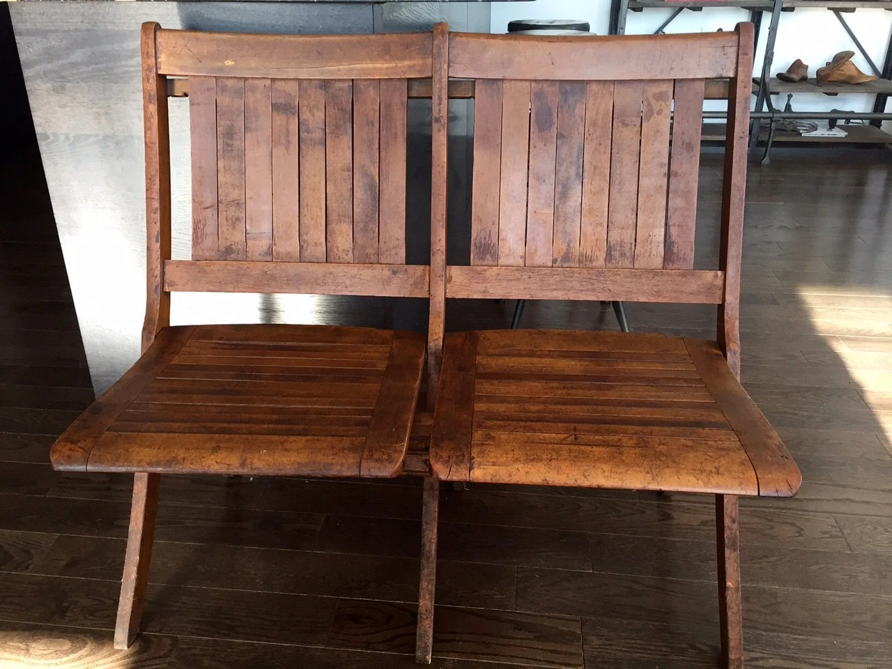two seat folding chair waterless pedicure chairs vintage tandem haywood wakefield bench