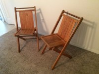 Pair of Mid-Century Wood Folding Chairs Slat by ...