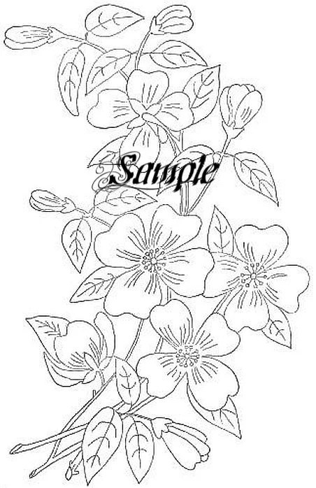 Items similar to Dogwood Embroidery Transfer, Embroidery