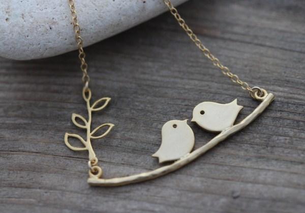 Gold Bird Necklace . Love Birds Anniversary