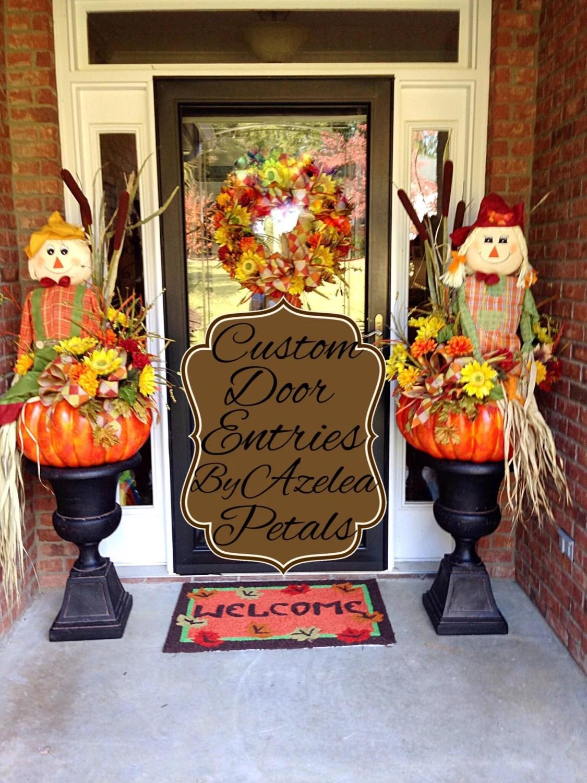 Custom Fall Door Entrance Decor Scarecrow Front Door