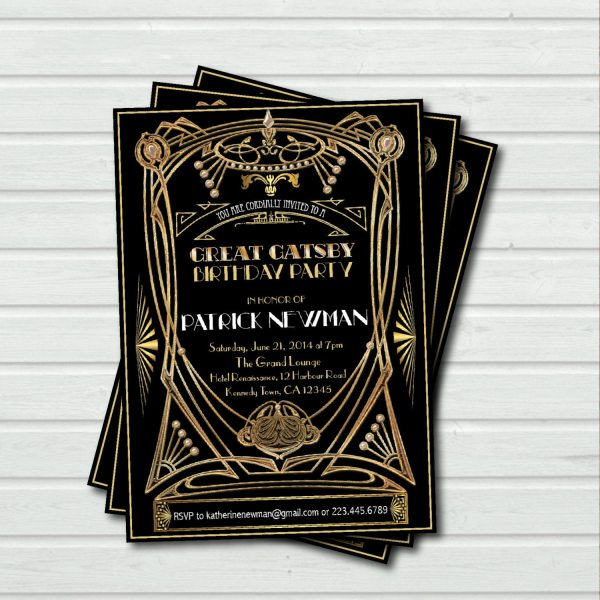 Great Gatsby Birthday Party Invitation