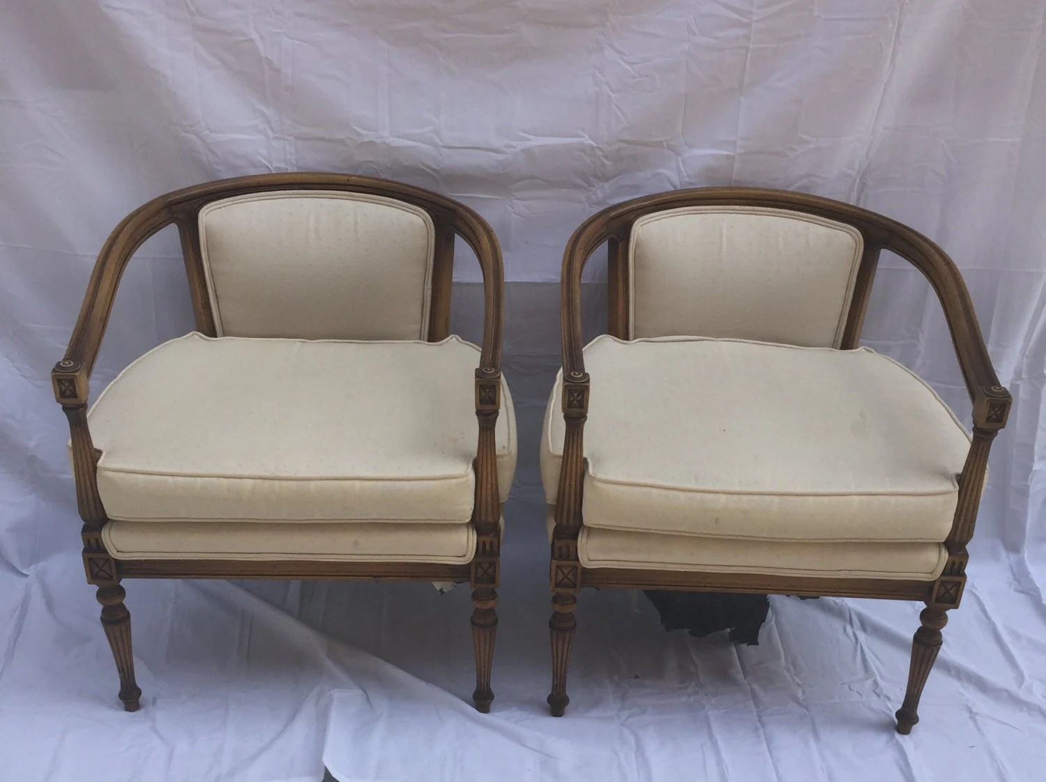 mid century cane barrel chair transparent polycarbonate chairs pair of vintage back with beautifully carved
