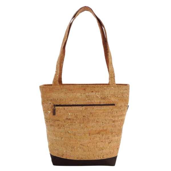 Vegan Cork Purse Brown And Tan Tote Bag With Gold