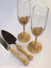 Pink and Gold Toasting Flute & Cake Server Set Pink and Gold