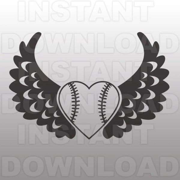 Softball Heart With Wings Svg File Cutting Template-single