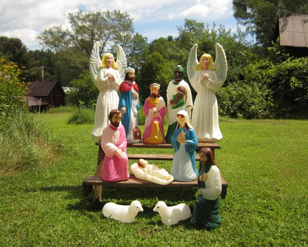 Vintage Blow Mold Nativity Lighted Christmas Outdoor Decor