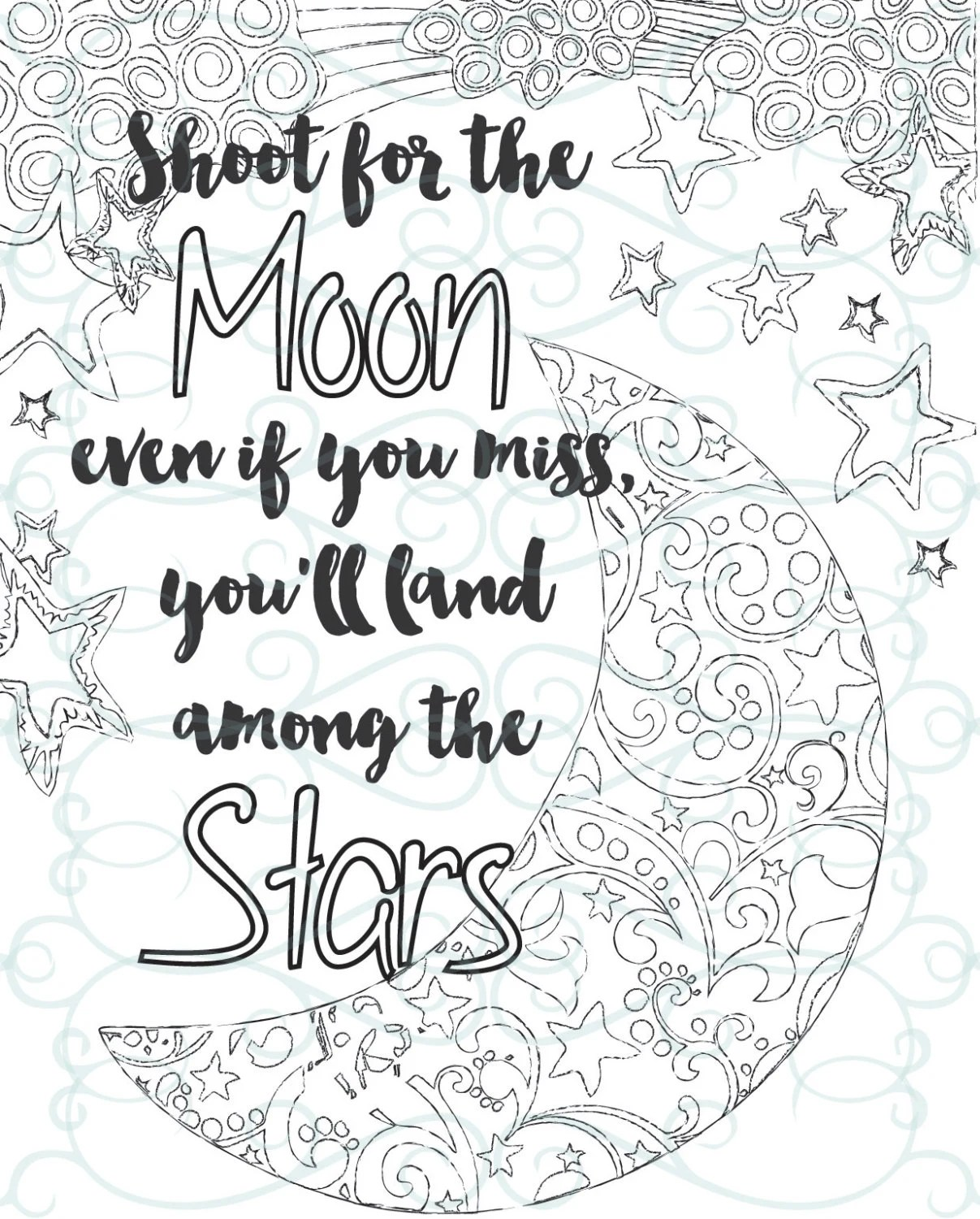Adult Inspirational Coloring Page printable 04-Shoot for the