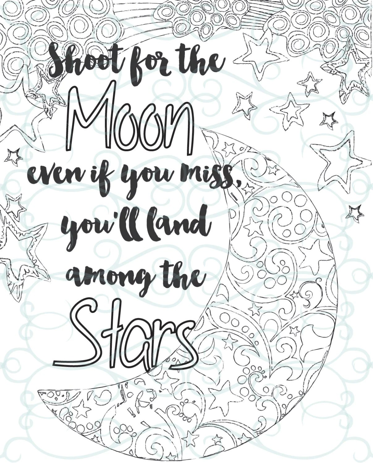 Adult Inspirational Coloring Page Printable 04 Shoot For