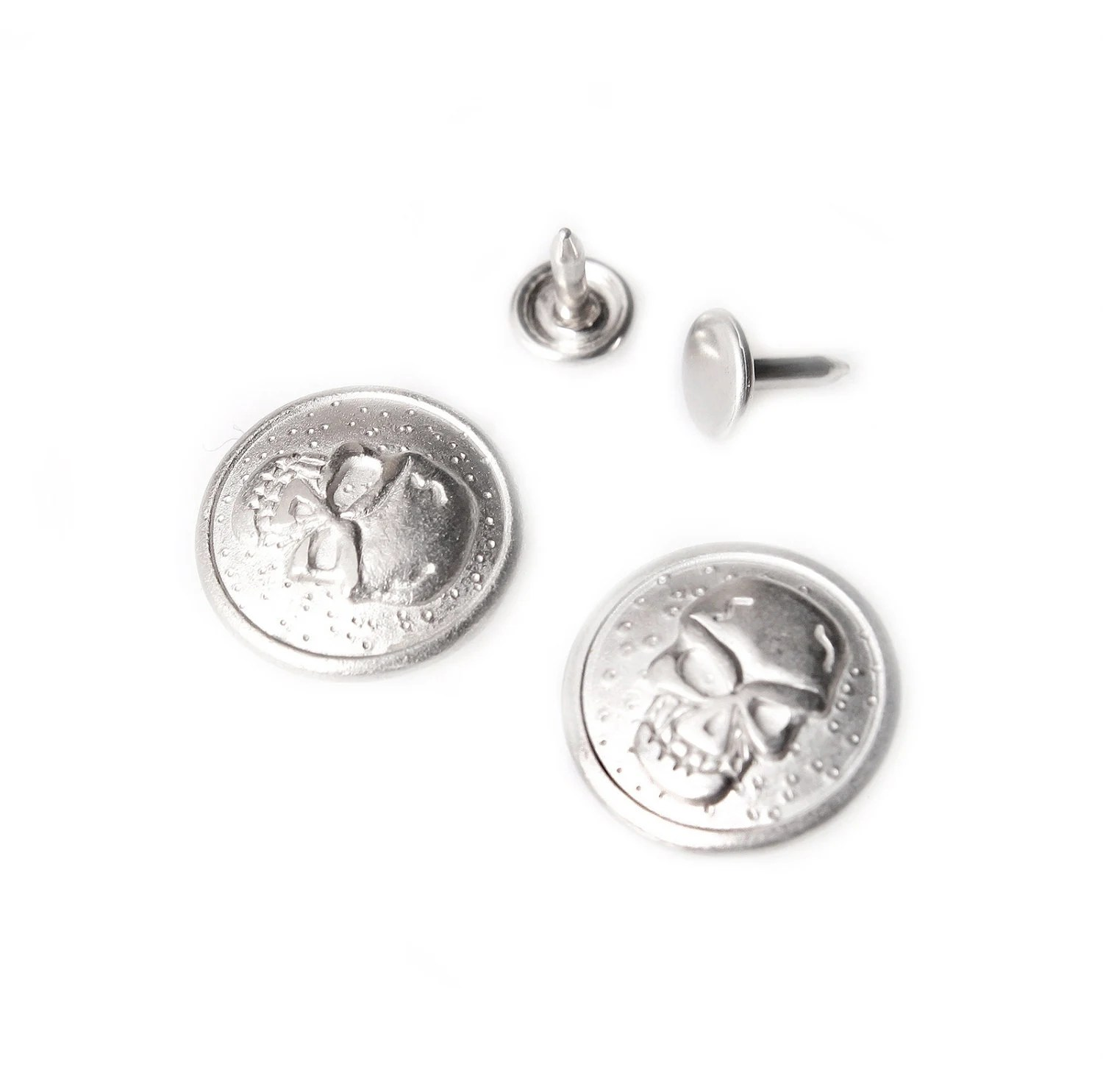 10 sets No Sew Replacement jean buttons skull by Starnights