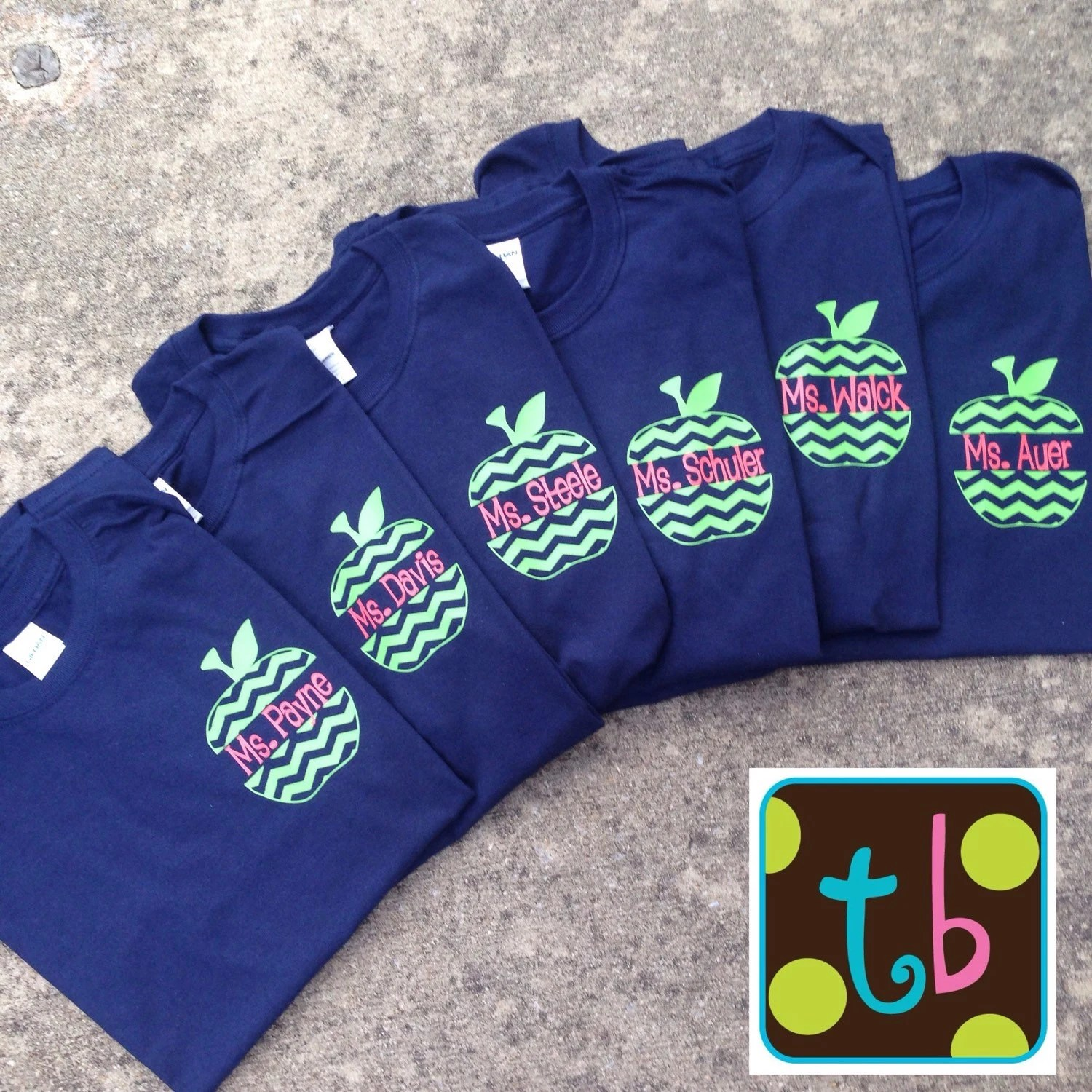 Personalized Chevron Monogrammed Apple Back To School Teacher