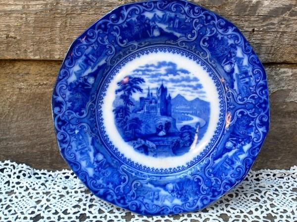 Reserved Mark Antique Flow Blue Plate Watteau