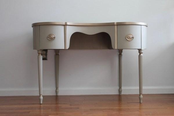 Vintage Light Grey Vanity Desk