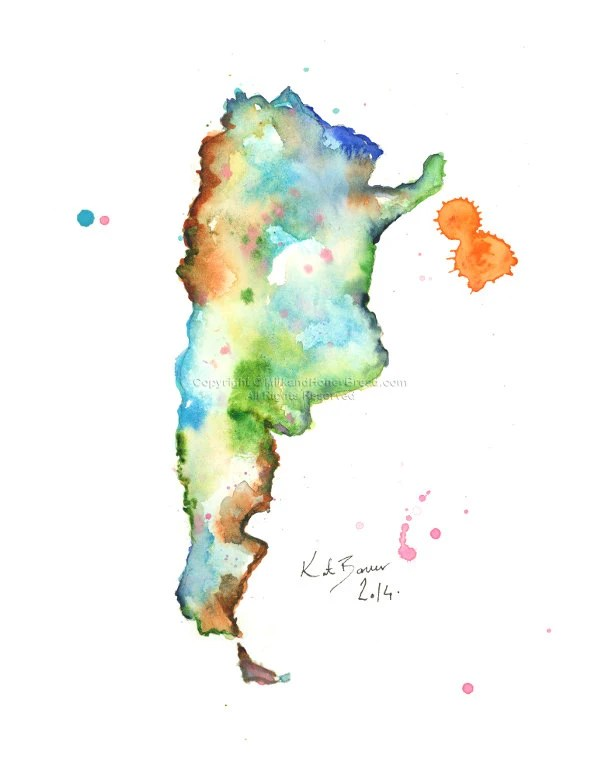 Argentina Map Watercolor Print of Map