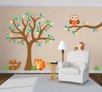 Tree Wall Decal Animal Wall Decal Forest Wall Decal