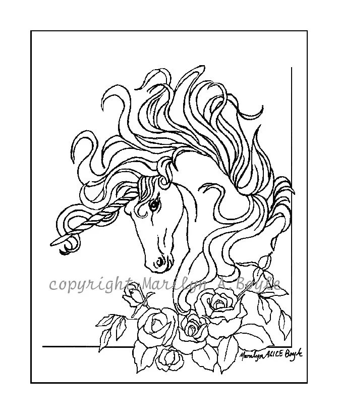 ADULT COLORING PAGE digital download Unicorn roses garden