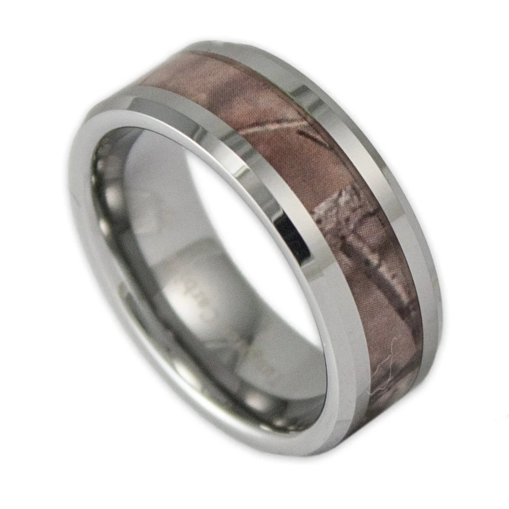 8MM Wide Mens Tree Camo Tungsten Wedding Ring By