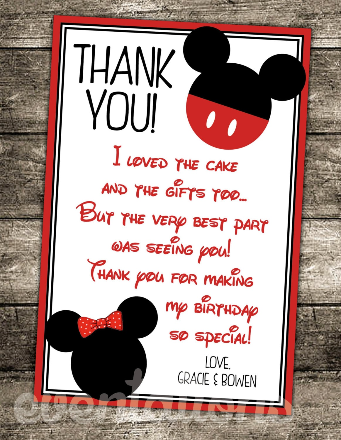 Oh Twodles Mickey Mouse Birthday Thank You Card