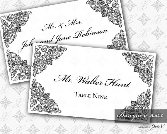DIY Printable Wedding Escort and Place Card Template